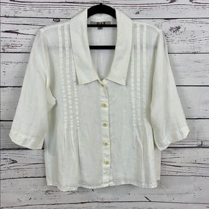 Flax Linen Button Down Shirt in Pure White